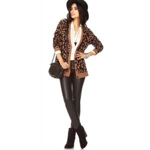 FOREVER 21 Leopard Print Cardigan with Studs/S
